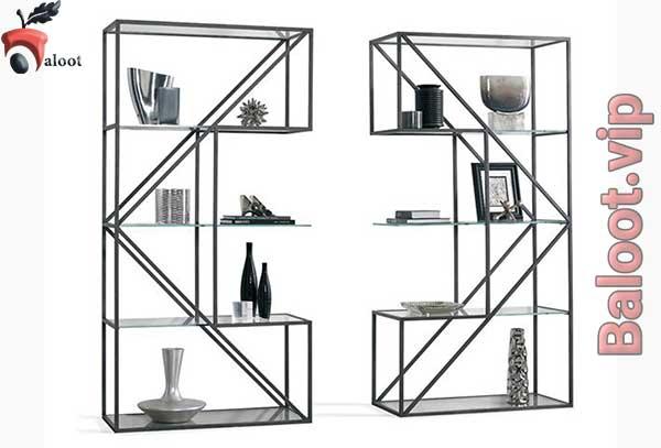 بهترین قفسه کتاب فلزی شیشه - بلوط